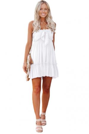 Strapless Solid Ruffle Mini Dress