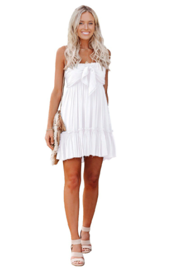 Strapless Solid Ruffle Mini Dress