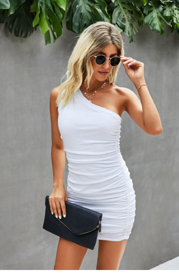 One Shoulder Solid Bodycon Dress