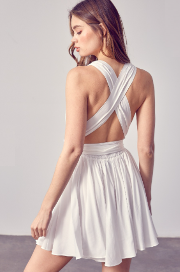 Cross Back Self Front Tie Dress