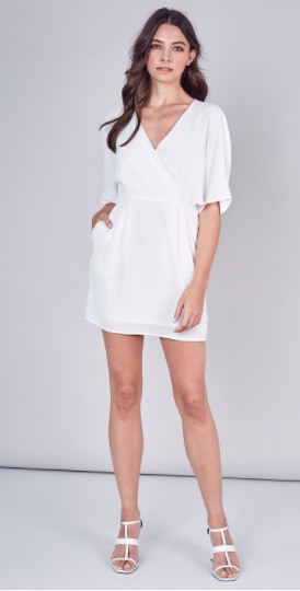 Deep V-Neck Wide Sleeve Dress