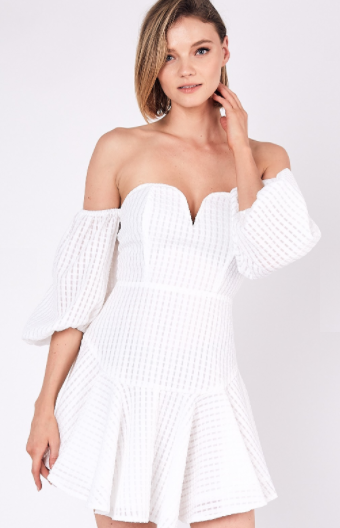 Open Shoulder Puff Sleeve Dress