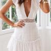 V Neck Lace Mini Dress