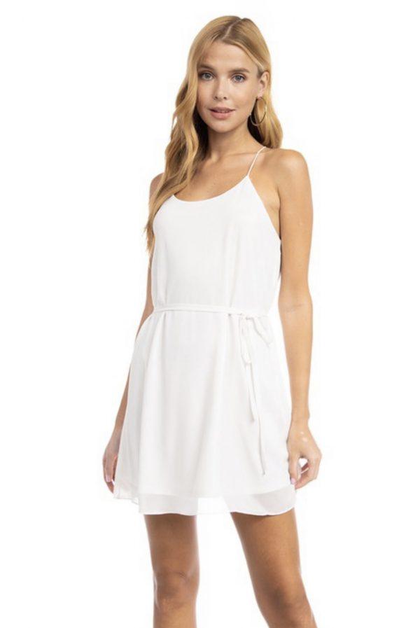 String Belted Mini Dress