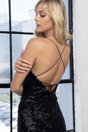 Black Sequin Lace Up Mini Dress
