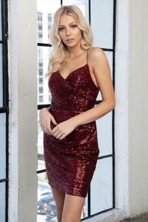 Burgundy Sequin Lace Up Mini Dress