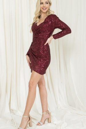 Burgundy Long Sleeve Sequin Mini Dress