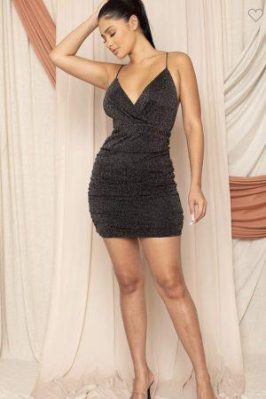 Black Glitter Mesh Surplice Mini Dress