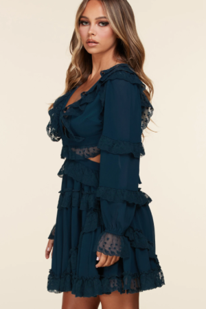 Long Sleeve Teal Blue Mini Dress