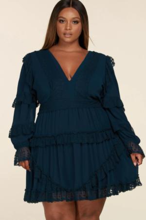 Long Sleeve Teal Blue Mini Curvy Dress
