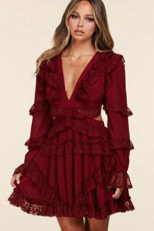 Long Sleeve Burgundy Mini Dress